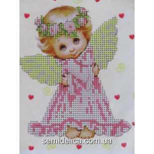 """Схема для вышивки А5 бисером на габардине """"Влюбленный ангелочек"""""""