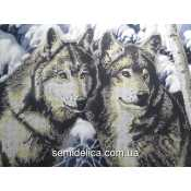 """Схема для вышивки А3 бисером на габардине """"Волки"""", частичная зашивка"""