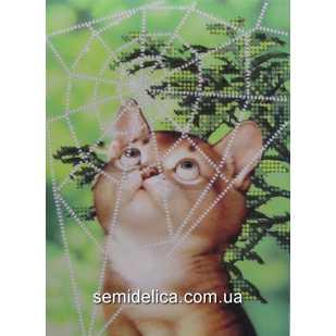 """Схема для вышивки А5 бисером на габардине """"Котенок в паутине"""""""