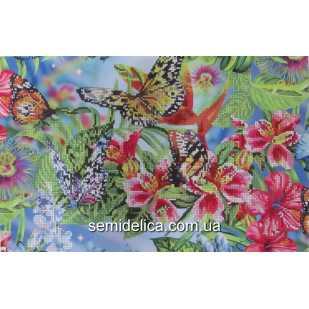 """Схема для вышивки А3 бисером на габардине """"Пестрые бабочки"""""""