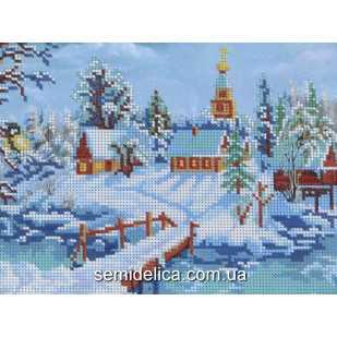 """Схема для вышивки А4 бисером на габардине """"Зимний пейзаж"""""""
