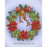 """Схема для вышивки А4 бисером на габардине """"Рождественский венок"""""""