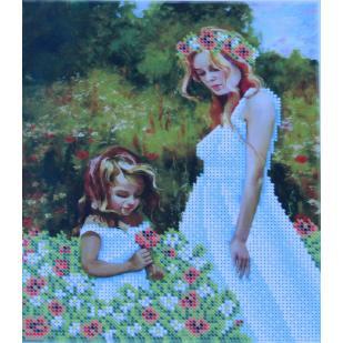 """Схема для вышивки А4 бисером на габардине """"Мама с дочкой"""""""