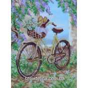 """Схема для вышивки А4 бисером на габардине """"Велосипед"""""""