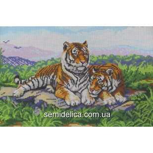 """Схема для вышивки А3 бисером на габардине """"Пара тигров"""""""