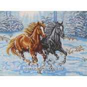 """Схема для вышивки А3 бисером на габардине """"Лошади в снегу"""""""