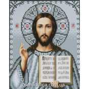 """Схема для вышивки А4 бисером на габардине """"Иисус Христос"""" в серебре"""