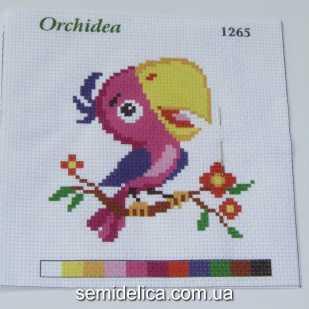 Набор для вышивки нитками 11Х11 см, Попугай