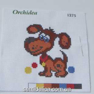 Набор для вышивки нитками 11Х11 см, Дружок
