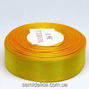 Лента атласная 2,5 см, желтый темный