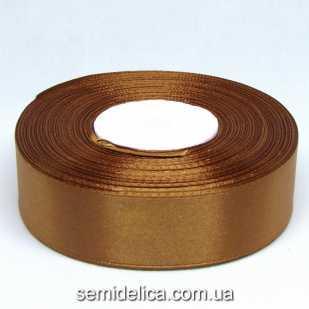 Лента атласная 2,5 см, коричневый светлый