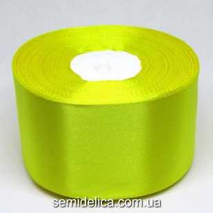 Лента атласная 5,0 см, желтый