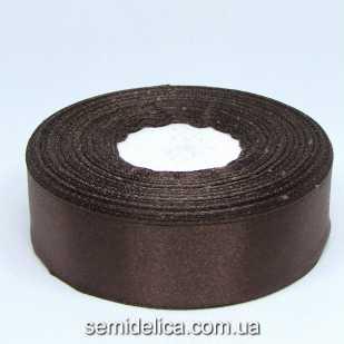 Лента атласная 2,5 см, коричневый темный