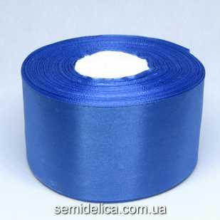 Лента атласная 5,0 см, синий светлый