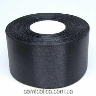 Лента атласная 5,0 см, черный