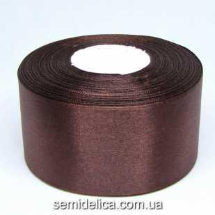 Лента атласная 5,0 см, шоколадный