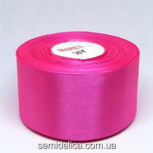 Лента атласная 5,0 см, розовый насыщенный