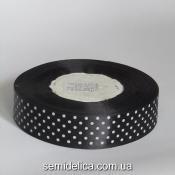 Лента атласная 2,5 см, черный в белый горошек