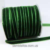 Лента бархатная 1,0 см, зеленый