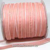 Лента бархатная 1,0 см, персик