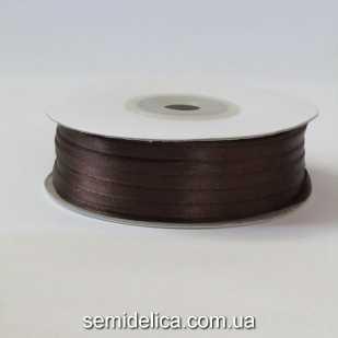 Лента атласная 0,3 см, коричневый темный