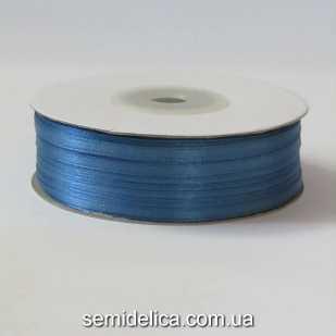 Лента атласная 0,3 см, синий светлый