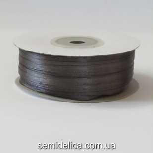 Лента атласная 0,3 см, серый темный