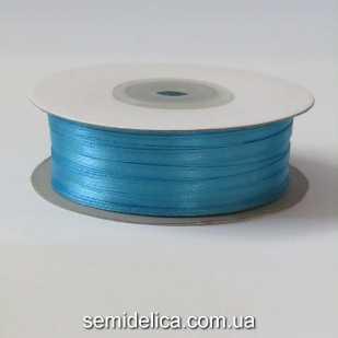 Лента атласная 0,3 см, голубой темный