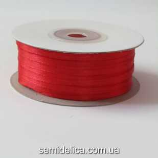Лента атласная 0,3 см, красный