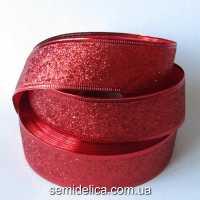 Лента с проволочным краем 3,8 см, красный глиттер