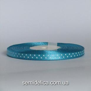 Лента атласная 0,6 см, голубой в белый горошек