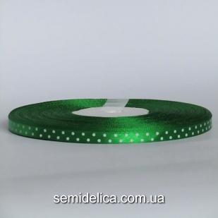 Лента атласная 0,6 см, зеленый в белый горошек