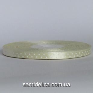 Лента атласная 0,6 см, молочный в белый горошек