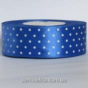 Лента атласная 4,0 см, синий в белый горошек