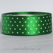 Лента атласная 4,0 см, зеленый в белый горошек