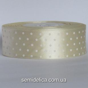 Лента атласная 4,0 см, молочный в белый горошек