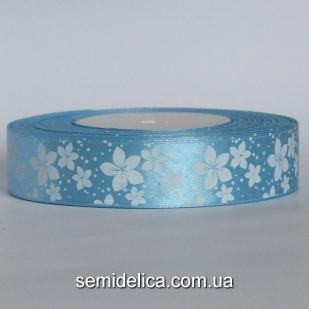 Лента атласная 2,5 см, голубой в белый цветочек