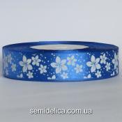 Лента атласная 2,5 см, синий в белый цветочек