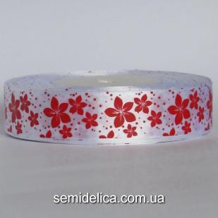 Лента атласная 2,5 см, белый в красный цветочек