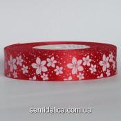 Лента атласная 2,5 см, красный в белый цветочек