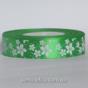 Лента атласная 2,5 см, зеленый в белый цветочек