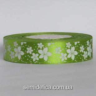 Лента атласная 2,5 см, оливковый в белый цветочек