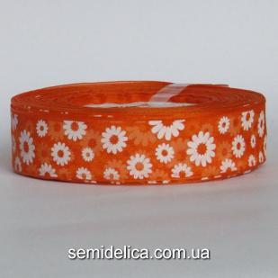 Лента органза 2,5 см, оранжевый в белый цветочек