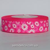 Лента органза 2,5 см, розовый яркий в белый цветочек