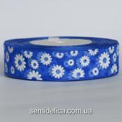 Лента органза 2,5 см, синий в белый цветочек