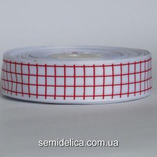 Лента репсовая 2,5 см, белый в клеточку