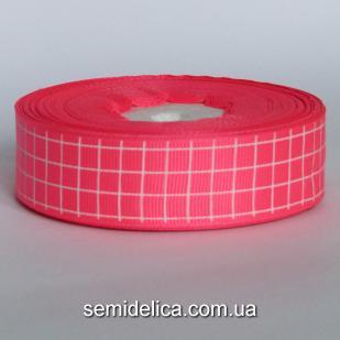 Лента репсовая 2,5 см, розовый в клеточку