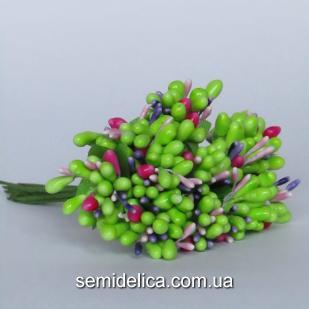 Тычинки на проволоке Незабудка, салатовый с фиолетом