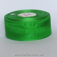 Лента органза 4,0 см, зеленый