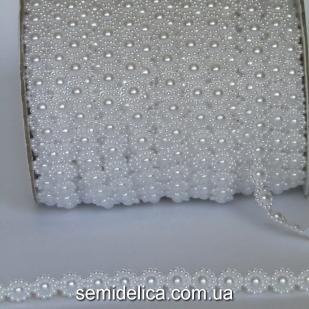 Полубусины на нитке 10 мм Цветочек, белый